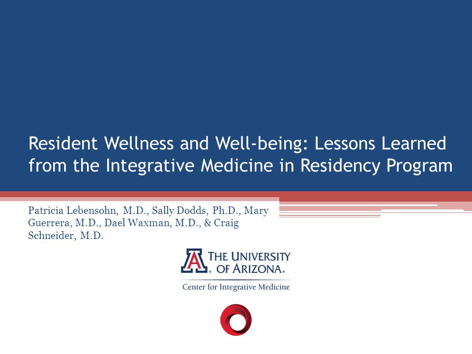 Resident Wellness and Well-being: Lessons Learned from the Integrative Medicine in Residency Program Patricia Lebensohn, M.D., Sally Dodds, Ph.D., Mar