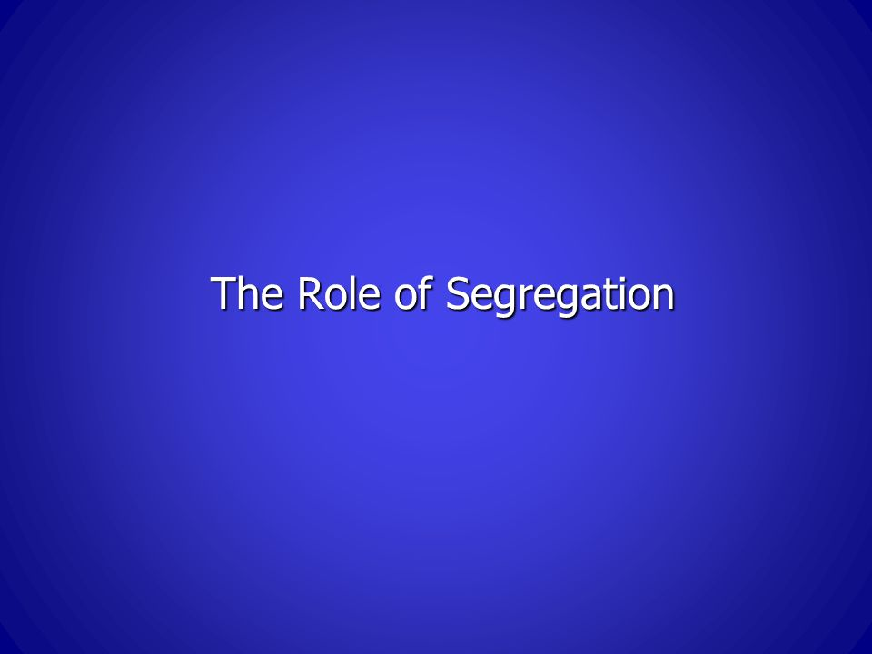 The Role of Segregation