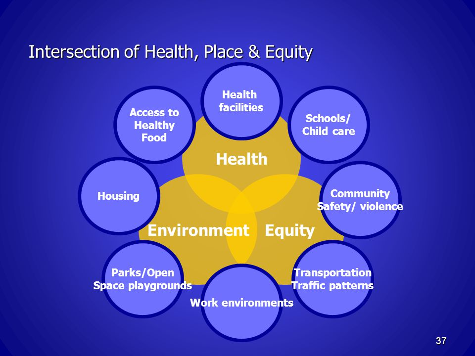 EquityEnvironment Health Intersection of Health, Place & Equity Access to Healthy Food Schools/ Child care Health facilities Community Safety/ violence Transportation Traffic patterns Work environments Housing Parks/Open Space playgrounds 37