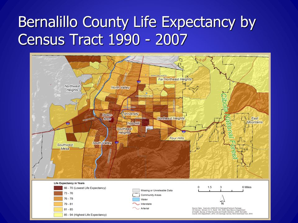 Bernalillo County Life Expectancy by Census Tract 1990 - 2007