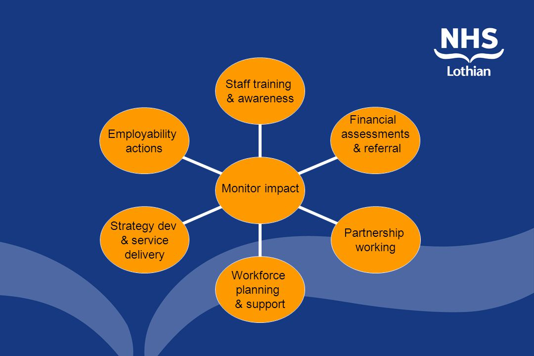 Monitor impact Staff training & awareness Financial assessments & referral Partnership working Workforce planning & support Strategy dev & service delivery Employability actions