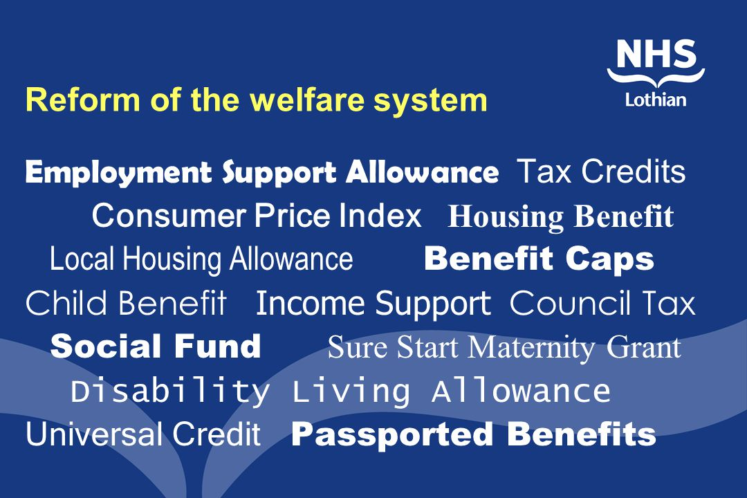 Reform of the welfare system Employment Support Allowance Tax Credits Consumer Price Index Housing Benefit Local Housing Allowance Benefit Caps Child Benefit Income Support Council Tax Social Fund Sure Start Maternity Grant Disability Living Allowance Universal Credit Passported Benefits