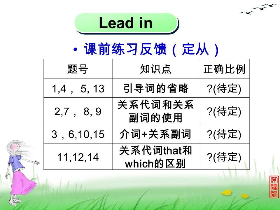 Lead in 课前练习反馈(定从) 题号知识点正确比例 1,4 , 5, 13 引导词的省略 ?( 待定 ) 2,7 , 8, 9 关系代词和关系 副词的使用 ?( 待定 ) 3 , 6,10,15 介词 + 关系副词 ?( 待定 ) 11,12,14 关系代词 that 和 which 的区别 ?( 待定 )