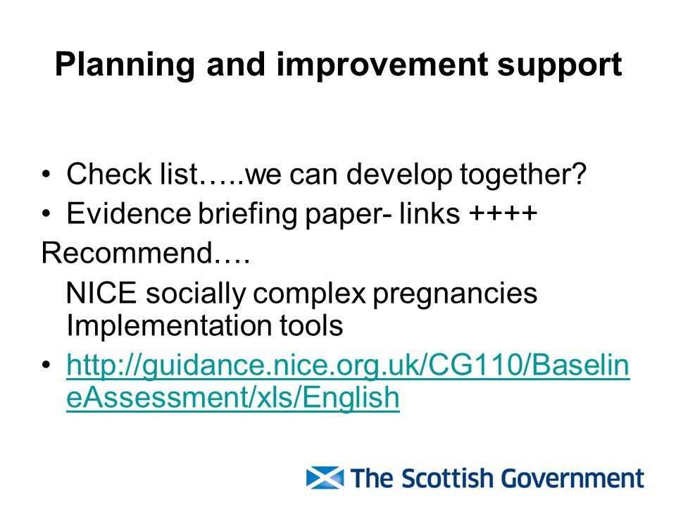 Planning and improvement support Check list…..we can develop together.