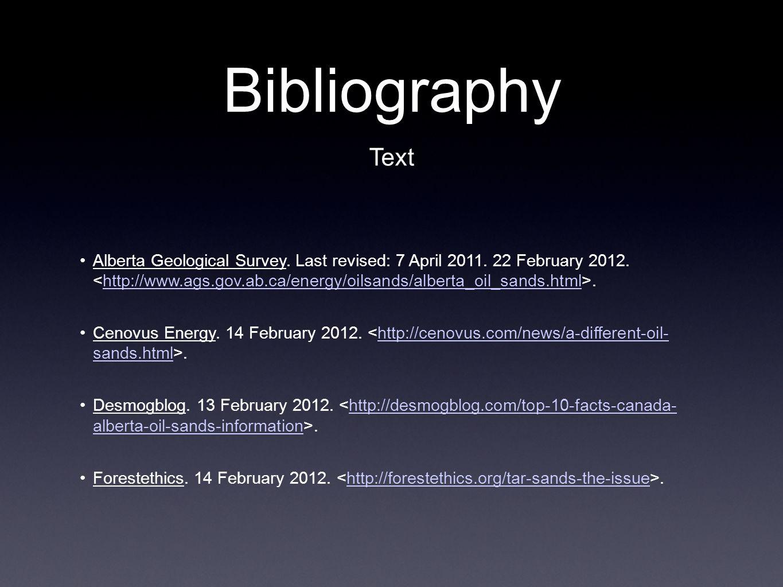Bibliography Alberta Geological Survey. Last revised: 7 April 2011.