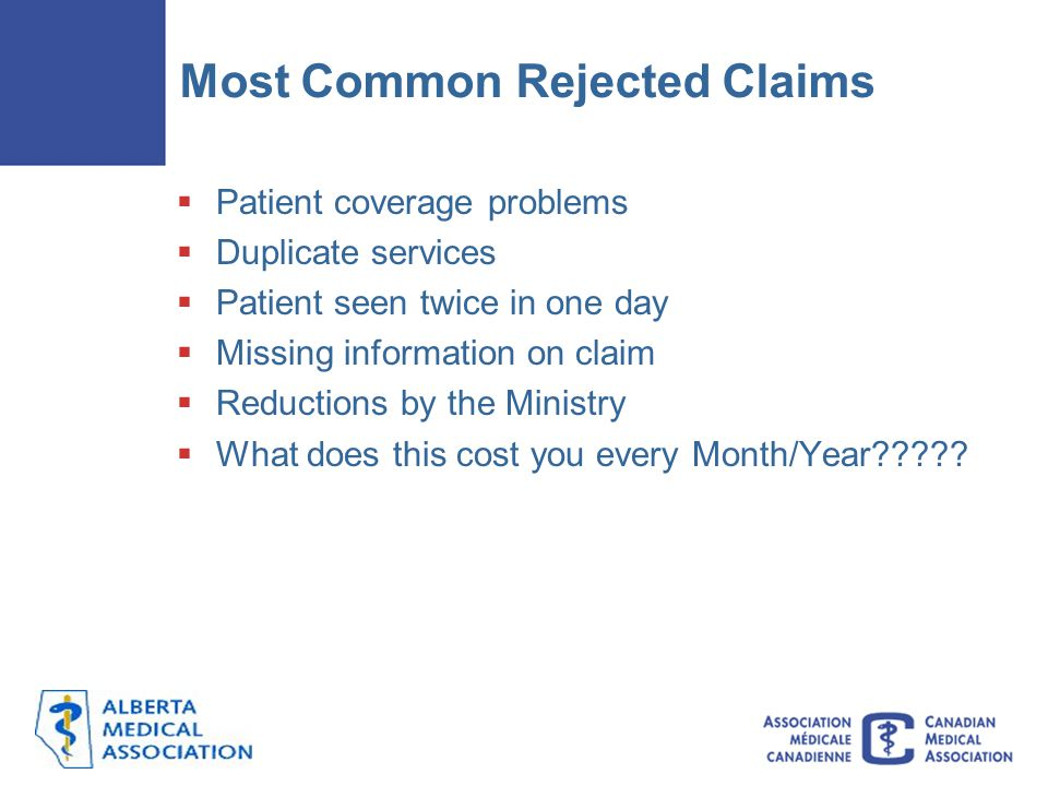 Most Common Rejected Claims  Patient coverage problems  Duplicate services  Patient seen twice in one day  Missing information on claim  Reductions by the Ministry  What does this cost you every Month/Year?????