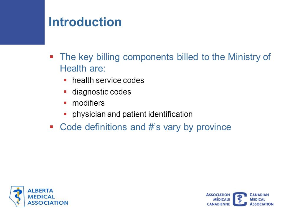 Introduction  The key billing components billed to the Ministry of Health are:  health service codes  diagnostic codes  modifiers  physician and patient identification  Code definitions and #'s vary by province