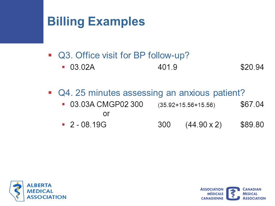 Billing Examples  Q3.Office visit for BP follow-up.