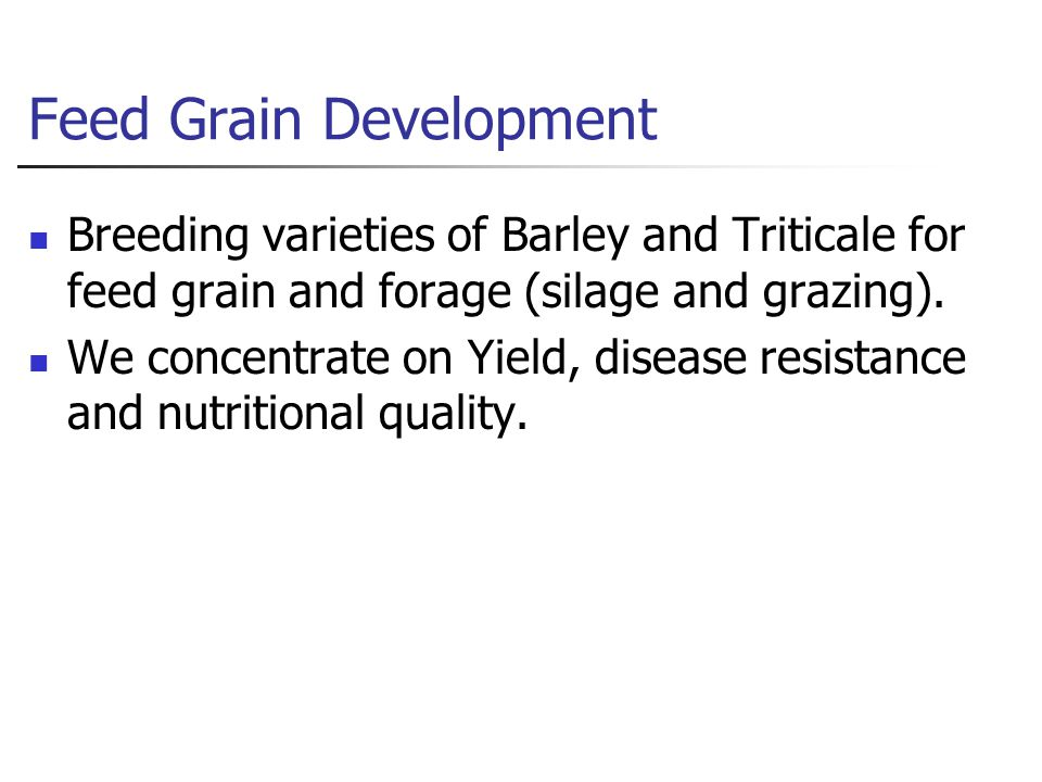 Feed Grain Development Breeding varieties of Barley and Triticale for feed grain and forage (silage and grazing).