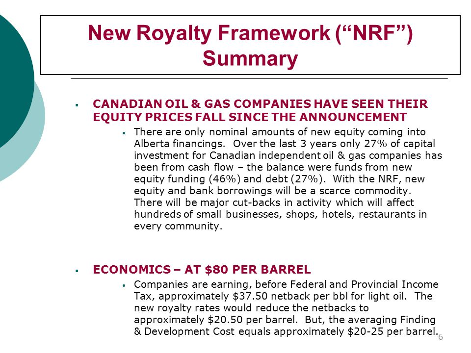New Royalty Framework ( NRF ) Summary  CANADIAN OIL & GAS COMPANIES HAVE SEEN THEIR EQUITY PRICES FALL SINCE THE ANNOUNCEMENT There are only nominal amounts of new equity coming into Alberta financings.