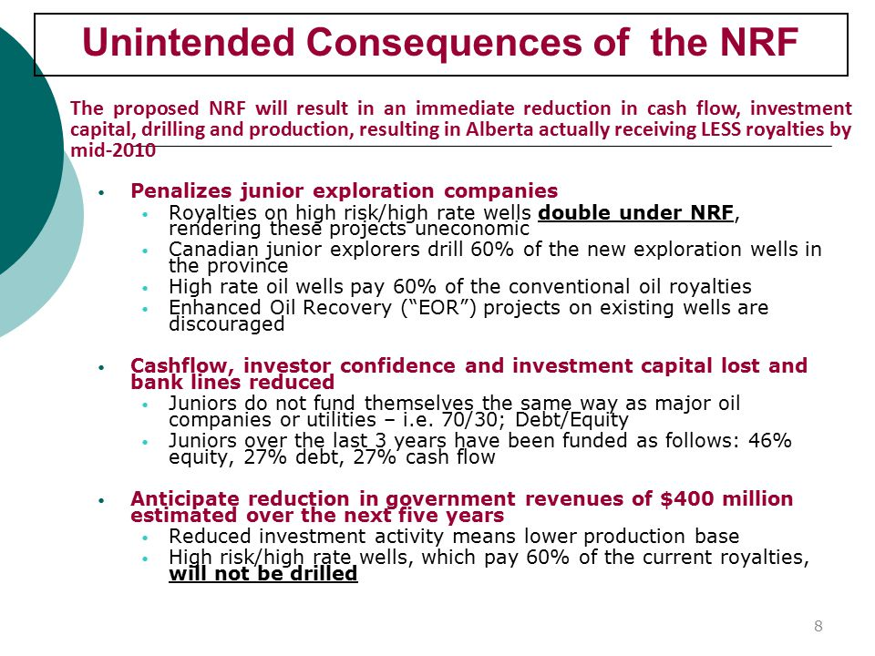 Unintended Consequences of the NRF Penalizes junior exploration companies Royalties on high risk/high rate wells double under NRF, rendering these projects uneconomic Canadian junior explorers drill 60% of the new exploration wells in the province High rate oil wells pay 60% of the conventional oil royalties Enhanced Oil Recovery ( EOR ) projects on existing wells are discouraged Cashflow, investor confidence and investment capital lost and bank lines reduced Juniors do not fund themselves the same way as major oil companies or utilities – i.e.