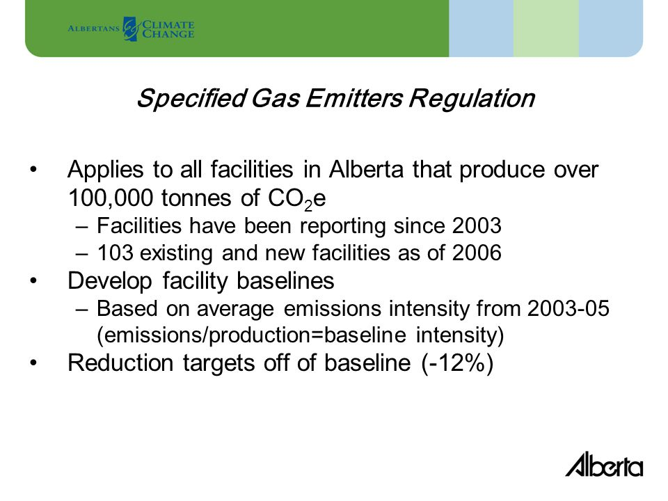 Power Plants 45% Oilsands 21% Heavy Oil 7% Gas Plants 7% Chemicals 6% Other14% (>100,000 tonnes CO2e/year) Alberta Reporting Program - 2006 Large Industrial Emitters Profile