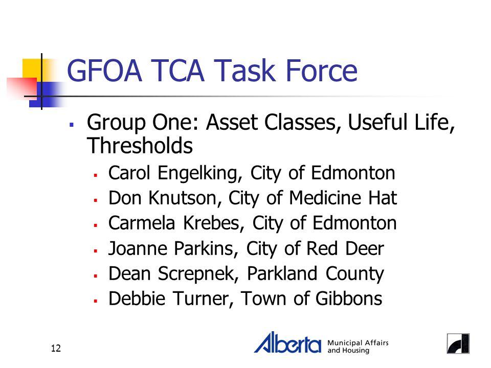 12 GFOA TCA Task Force  Group One: Asset Classes, Useful Life, Thresholds  Carol Engelking, City of Edmonton  Don Knutson, City of Medicine Hat  Carmela Krebes, City of Edmonton  Joanne Parkins, City of Red Deer  Dean Screpnek, Parkland County  Debbie Turner, Town of Gibbons