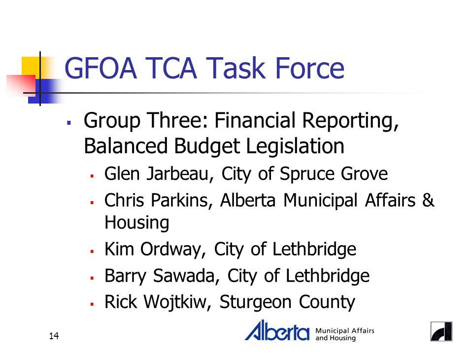 14 GFOA TCA Task Force  Group Three: Financial Reporting, Balanced Budget Legislation  Glen Jarbeau, City of Spruce Grove  Chris Parkins, Alberta Municipal Affairs & Housing  Kim Ordway, City of Lethbridge  Barry Sawada, City of Lethbridge  Rick Wojtkiw, Sturgeon County