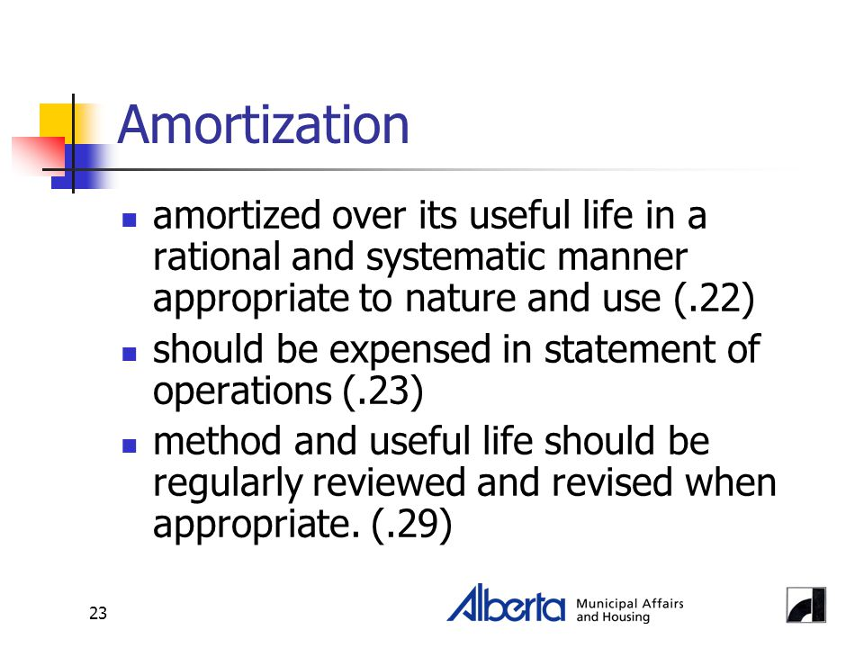 23 Amortization amortized over its useful life in a rational and systematic manner appropriate to nature and use (.22) should be expensed in statement of operations (.23) method and useful life should be regularly reviewed and revised when appropriate.