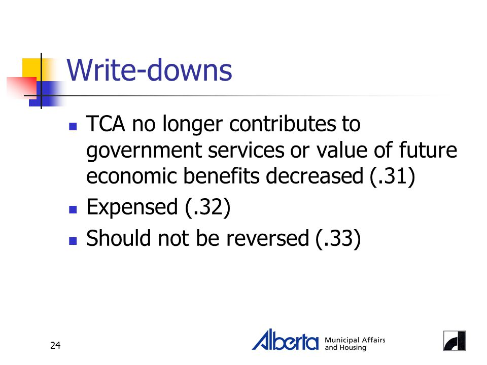 24 Write-downs TCA no longer contributes to government services or value of future economic benefits decreased (.31) Expensed (.32) Should not be reversed (.33)