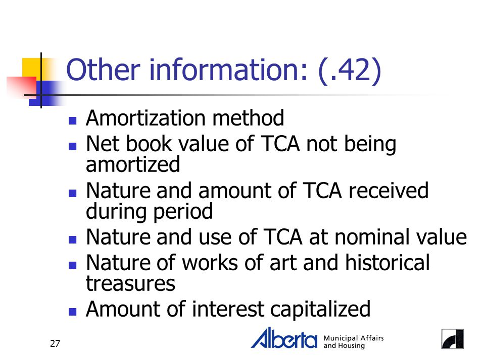27 Other information: (.42) Amortization method Net book value of TCA not being amortized Nature and amount of TCA received during period Nature and u
