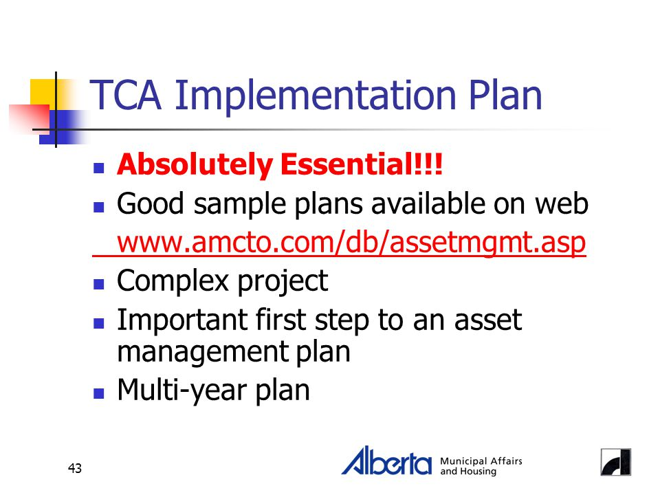 43 TCA Implementation Plan Absolutely Essential!!.