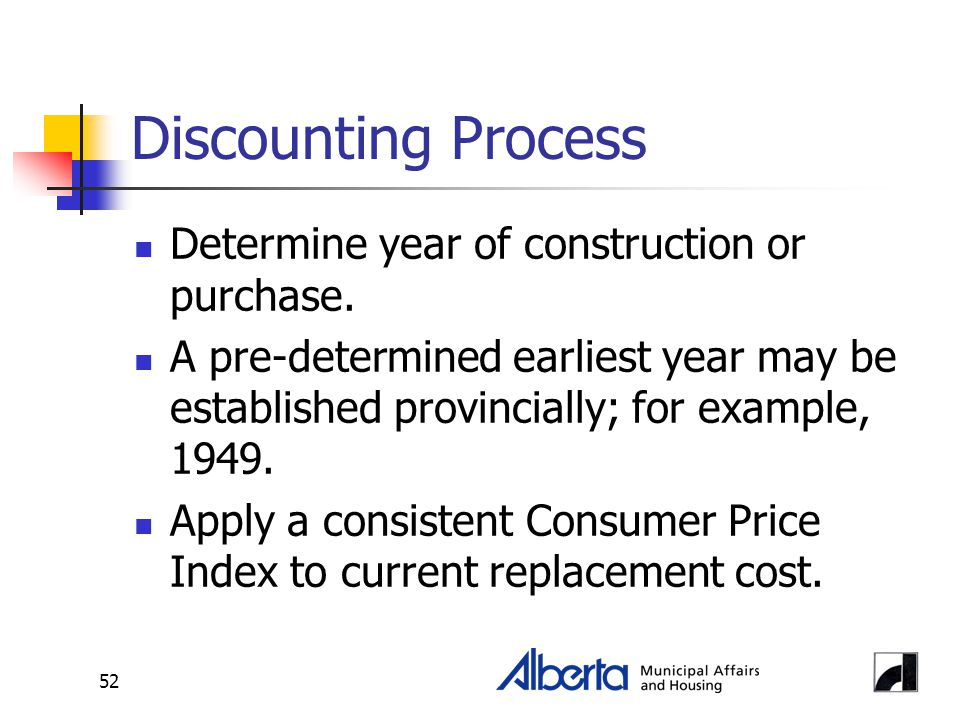 52 Discounting Process Determine year of construction or purchase. A pre-determined earliest year may be established provincially; for example, 1949.
