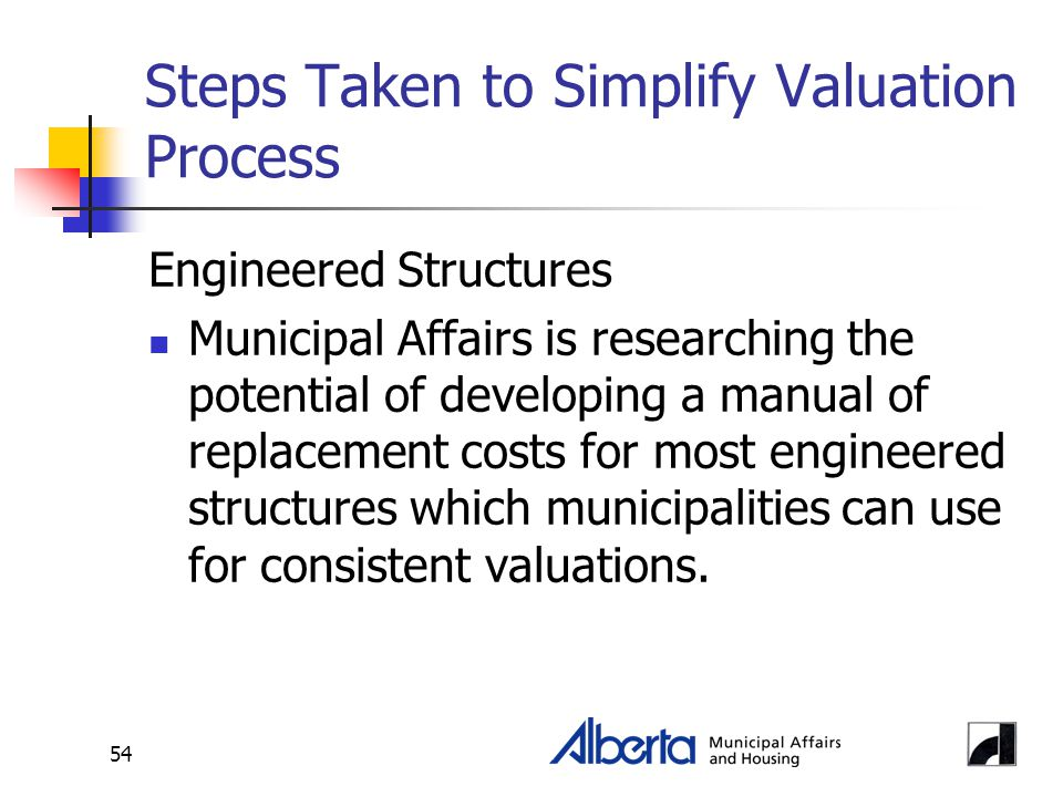 54 Steps Taken to Simplify Valuation Process Engineered Structures Municipal Affairs is researching the potential of developing a manual of replacement costs for most engineered structures which municipalities can use for consistent valuations.