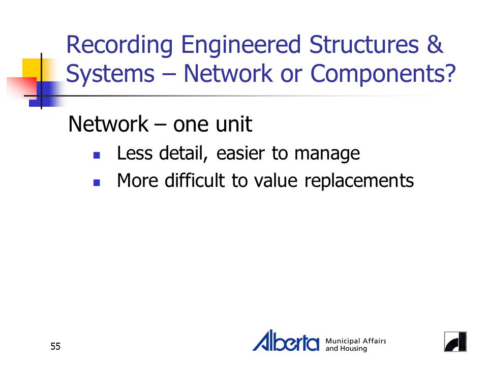 55 Recording Engineered Structures & Systems – Network or Components? Network – one unit Less detail, easier to manage More difficult to value replace
