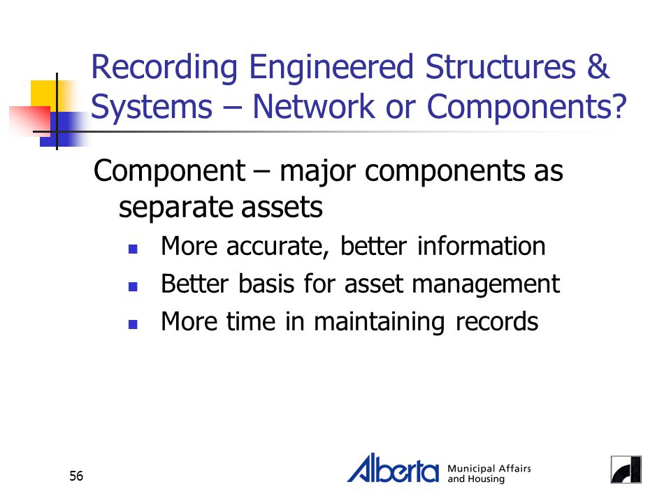 56 Recording Engineered Structures & Systems – Network or Components.