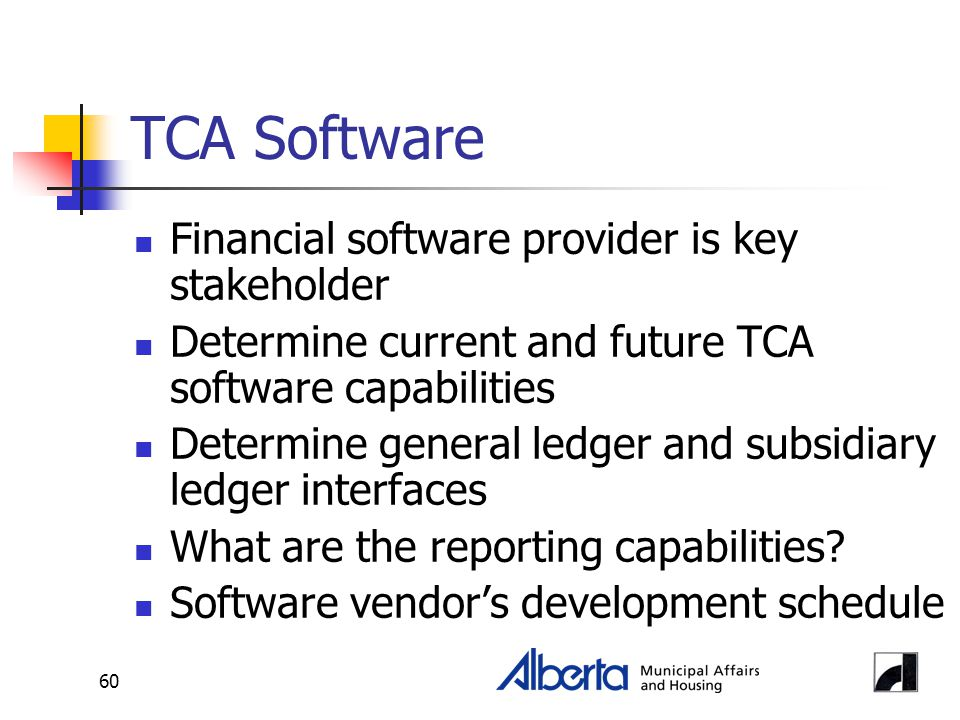 60 TCA Software Financial software provider is key stakeholder Determine current and future TCA software capabilities Determine general ledger and sub