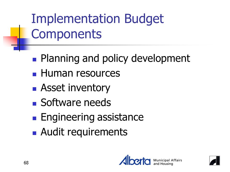 68 Implementation Budget Components Planning and policy development Human resources Asset inventory Software needs Engineering assistance Audit requir