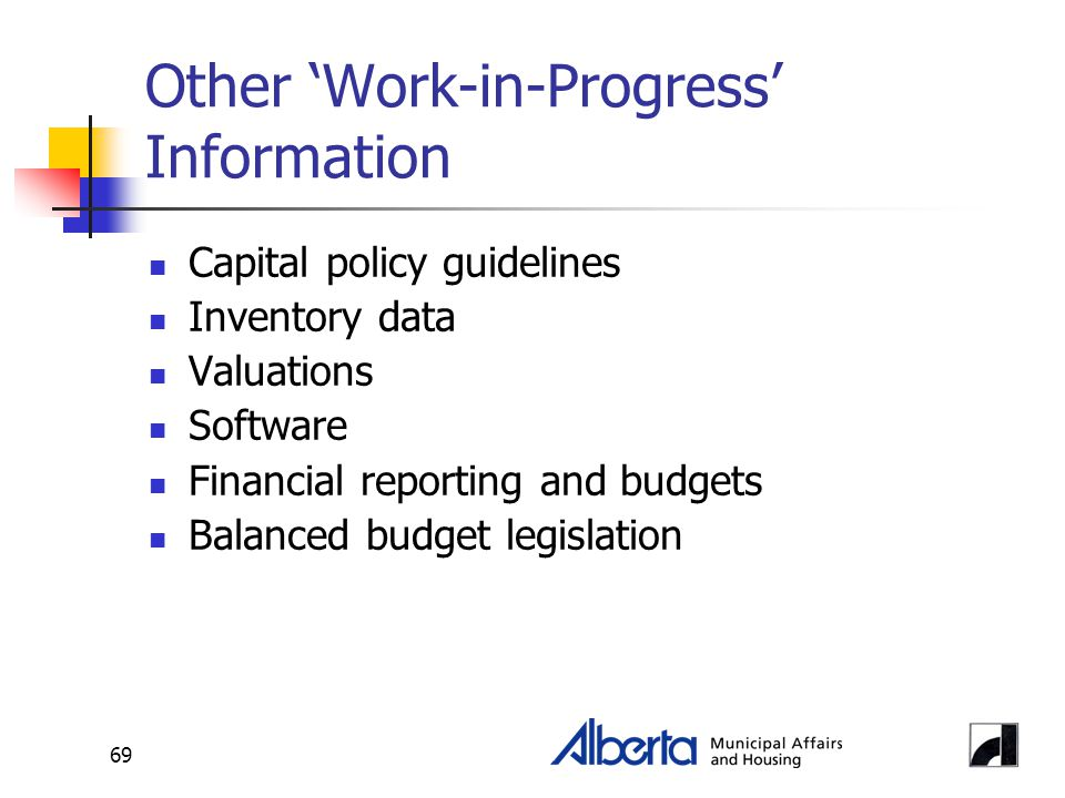 69 Other 'Work-in-Progress' Information Capital policy guidelines Inventory data Valuations Software Financial reporting and budgets Balanced budget legislation