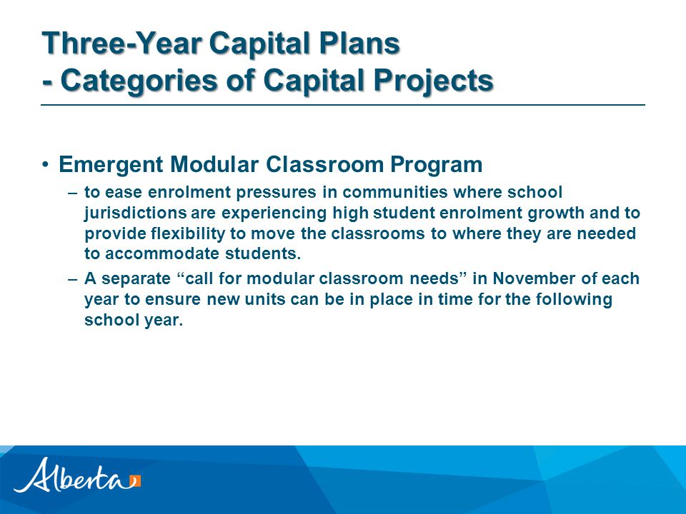 Three-Year Capital Plans - Categories of Capital Projects Emergent Modular Classroom Program –to ease enrolment pressures in communities where school jurisdictions are experiencing high student enrolment growth and to provide flexibility to move the classrooms to where they are needed to accommodate students.