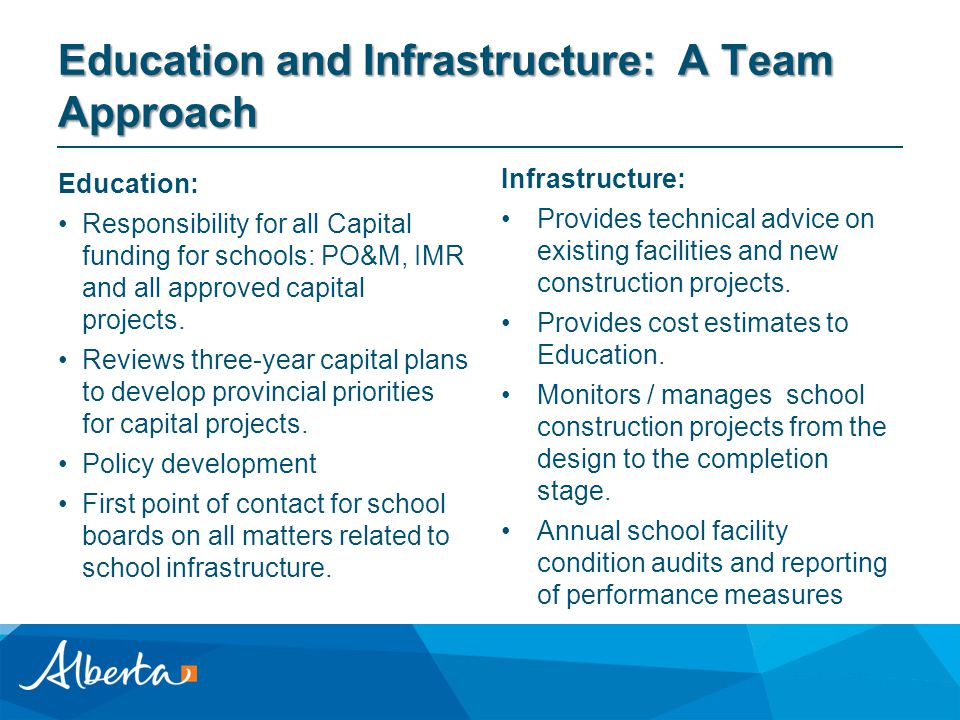 Education and Infrastructure: A Team Approach Education: Responsibility for all Capital funding for schools: PO&M, IMR and all approved capital projects.