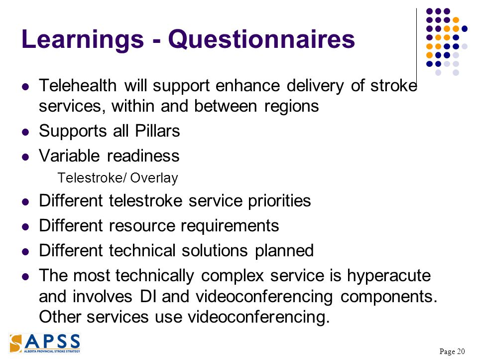 Page 20 Learnings - Questionnaires Telehealth will support enhance delivery of stroke services, within and between regions Supports all Pillars Variable readiness Telestroke/ Overlay Different telestroke service priorities Different resource requirements Different technical solutions planned The most technically complex service is hyperacute and involves DI and videoconferencing components.