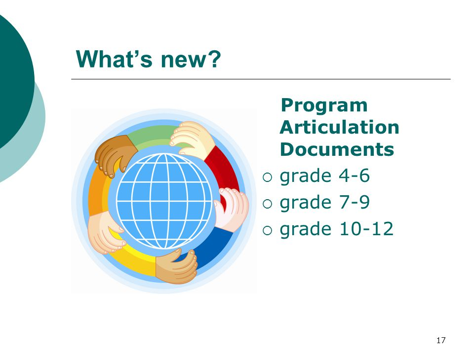 17 What's new Program Articulation Documents  grade 4-6  grade 7-9  grade 10-12