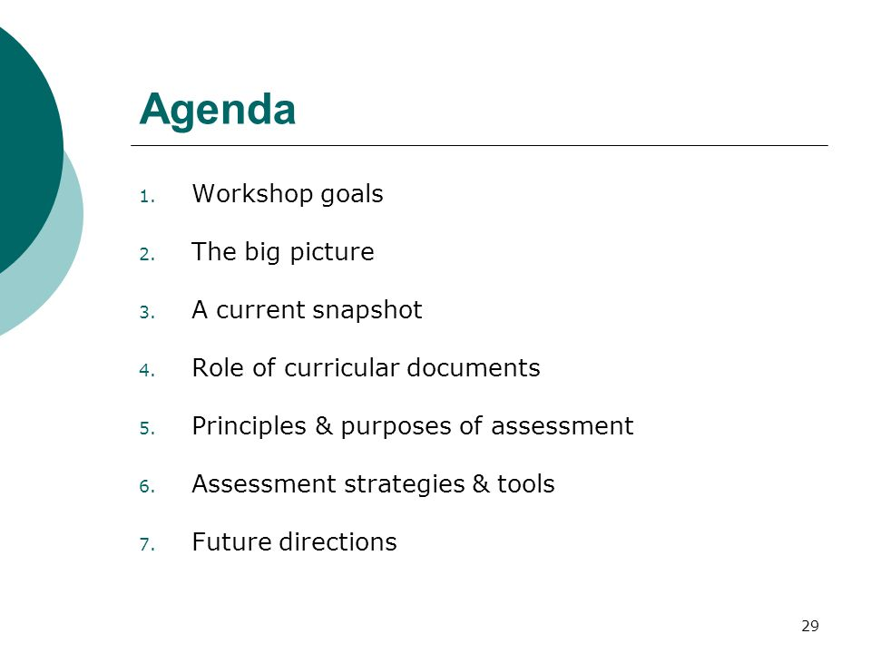 29 Agenda 1. Workshop goals 2. The big picture 3.