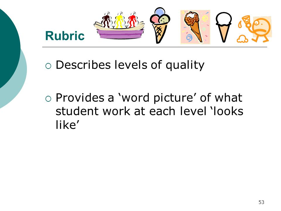 53 Rubric  Describes levels of quality  Provides a 'word picture' of what student work at each level 'looks like'