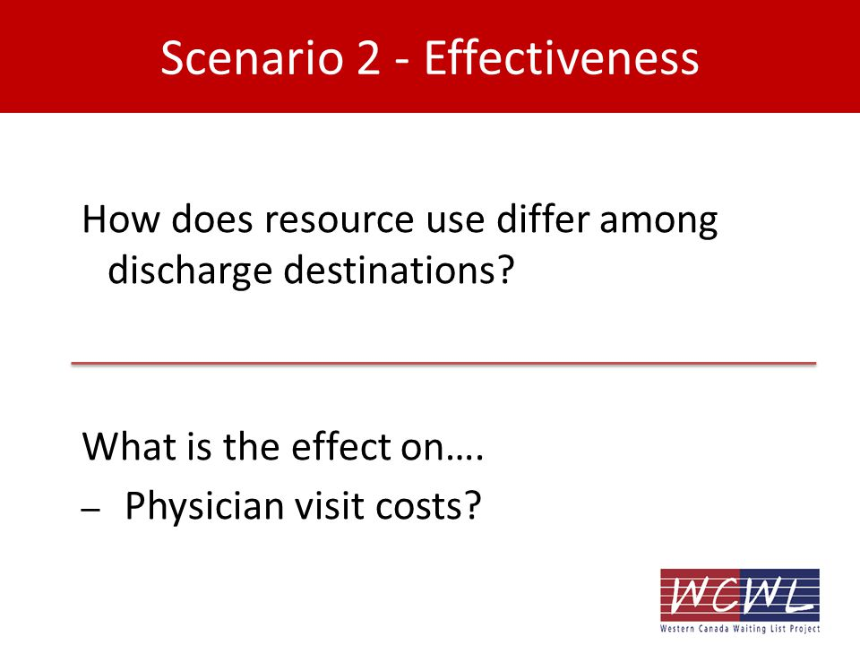 Scenario 2 - Effectiveness How does resource use differ among discharge destinations.