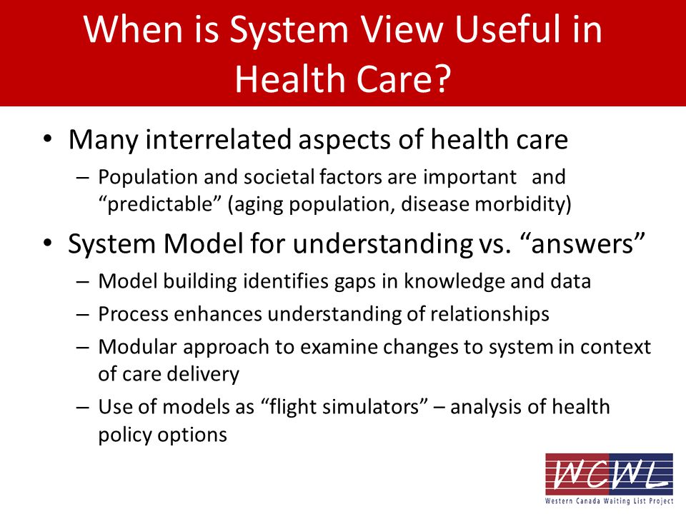 When is System View Useful in Health Care.