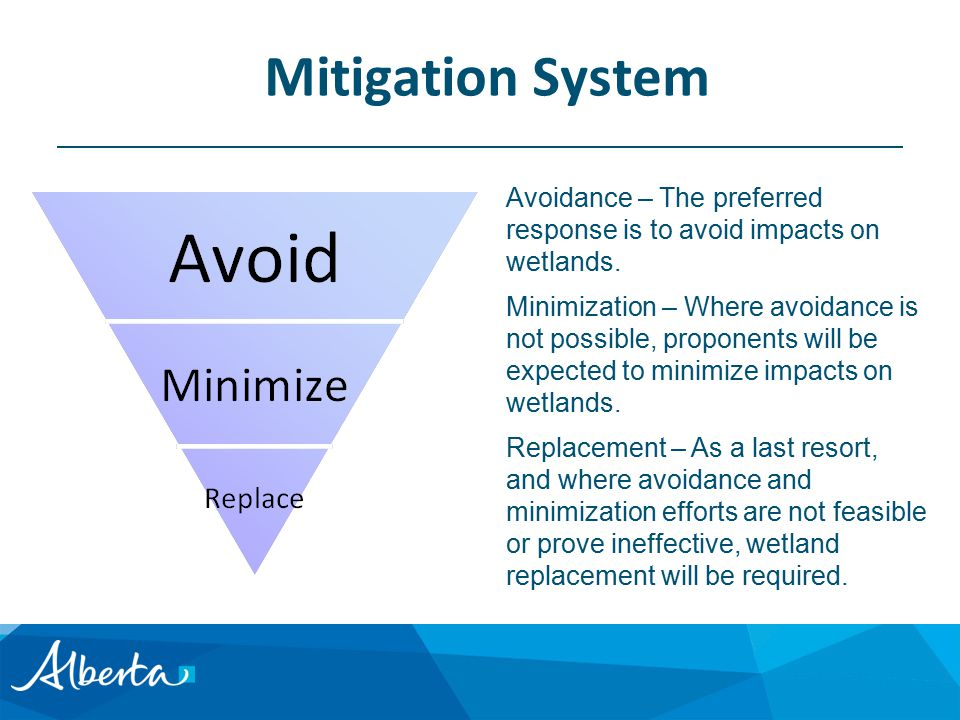 Mitigation System Avoidance – The preferred response is to avoid impacts on wetlands.