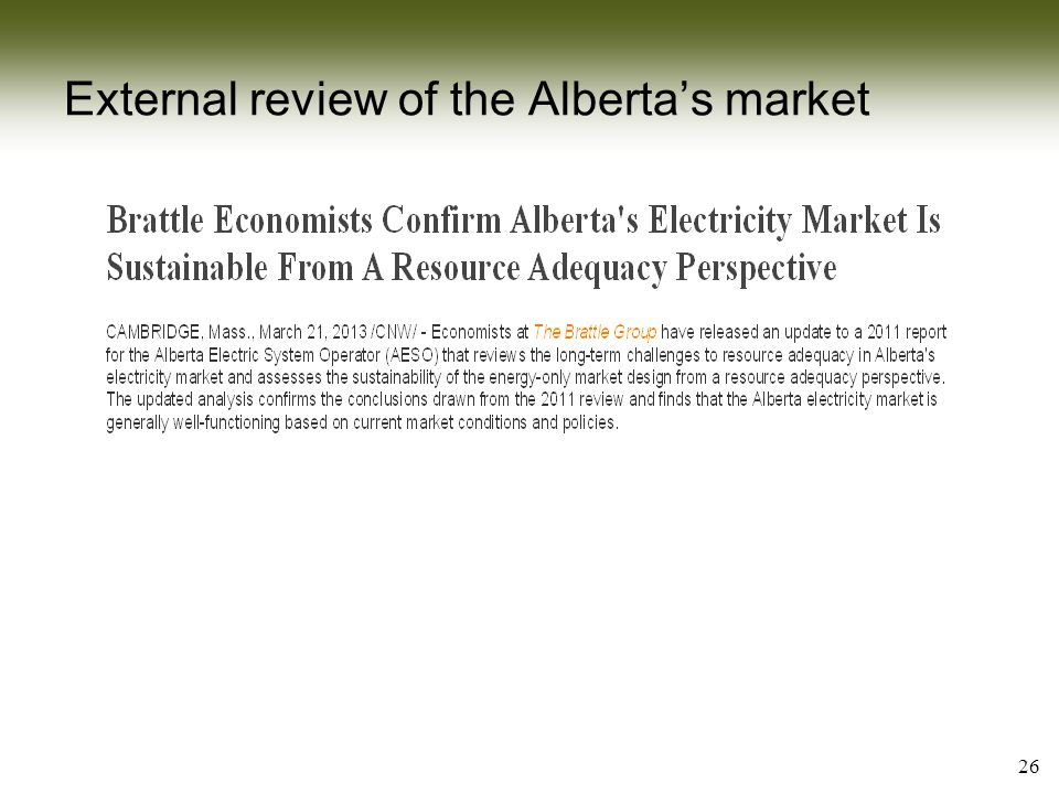 External review of the Alberta's market 26