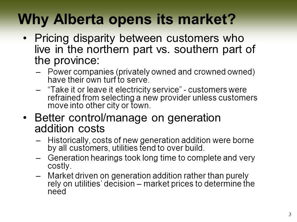 Why Alberta opens its market (cont'd) .