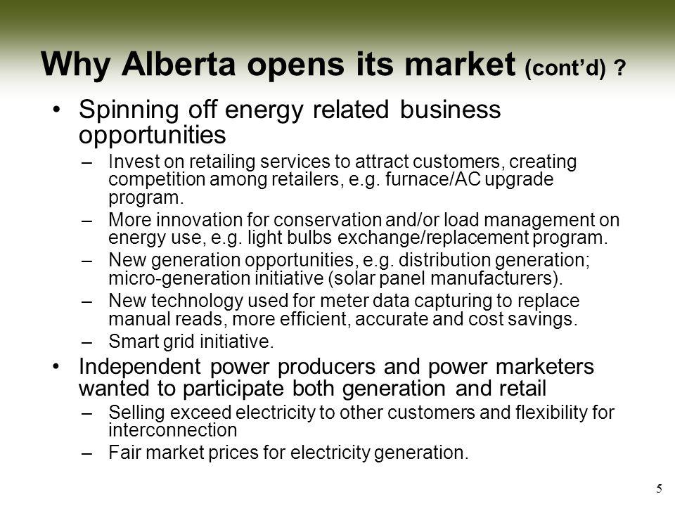 When Alberta de-regulated its market.De-regulation could not occur over-night.