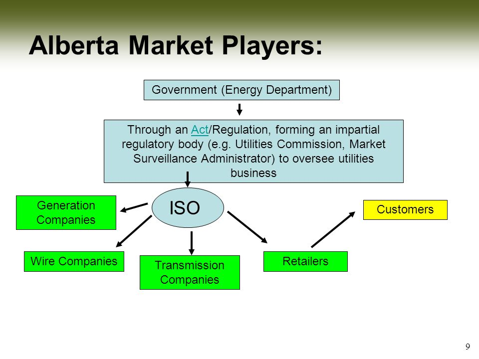 9 Alberta Market Players: Government (Energy Department) Through an Act/Regulation, forming an impartial regulatory body (e.g.