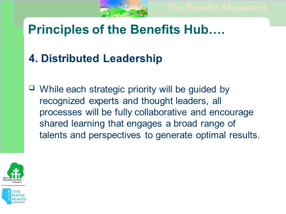 The Benefits Movement Principles of the Benefits Hub….