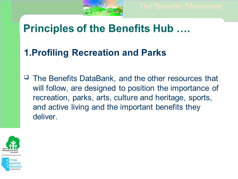 The Benefits Movement Principles of the Benefits Hub ….