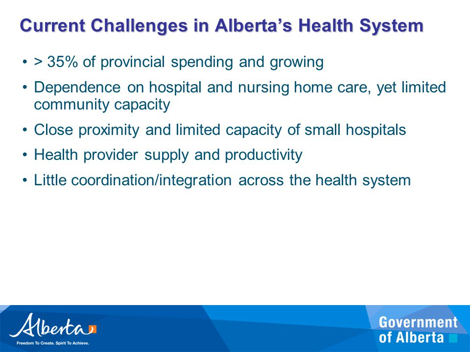 Current Challenges in Alberta's Health System > 35% of provincial spending and growing Dependence on hospital and nursing home care, yet limited community capacity Close proximity and limited capacity of small hospitals Health provider supply and productivity Little coordination/integration across the health system