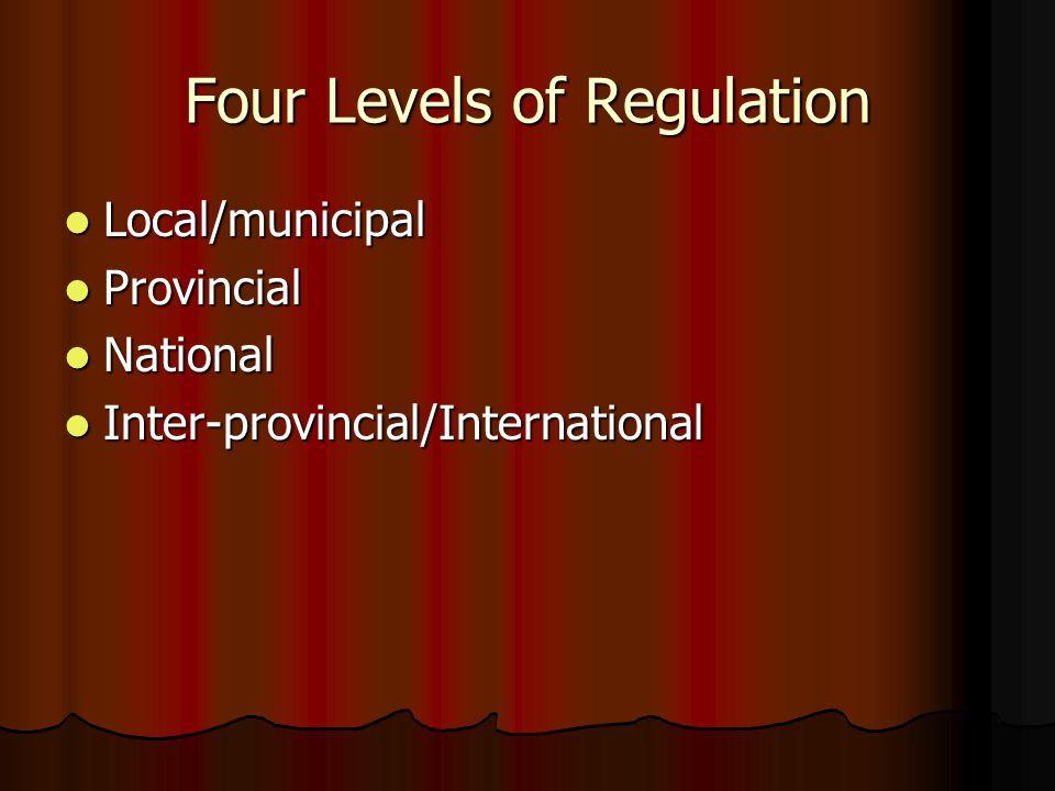 Four Levels of Regulation Local/municipal Local/municipal Provincial Provincial National National Inter-provincial/International Inter-provincial/International