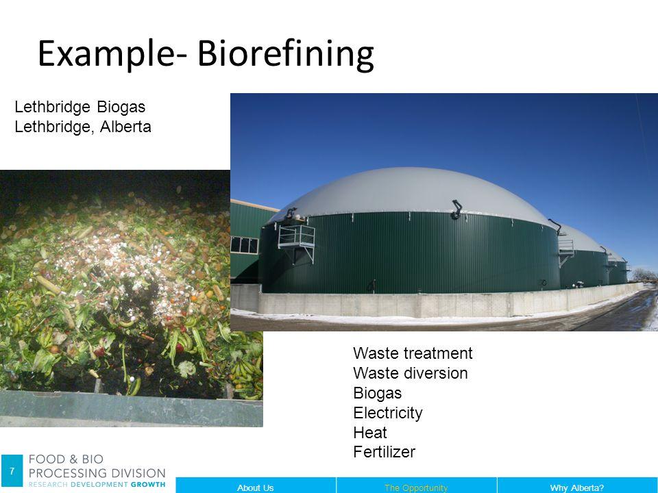 Lethbridge Biogas Lethbridge, Alberta Waste treatment Waste diversion Biogas Electricity Heat Fertilizer 7 About UsThe OpportunityWhy Alberta? Example