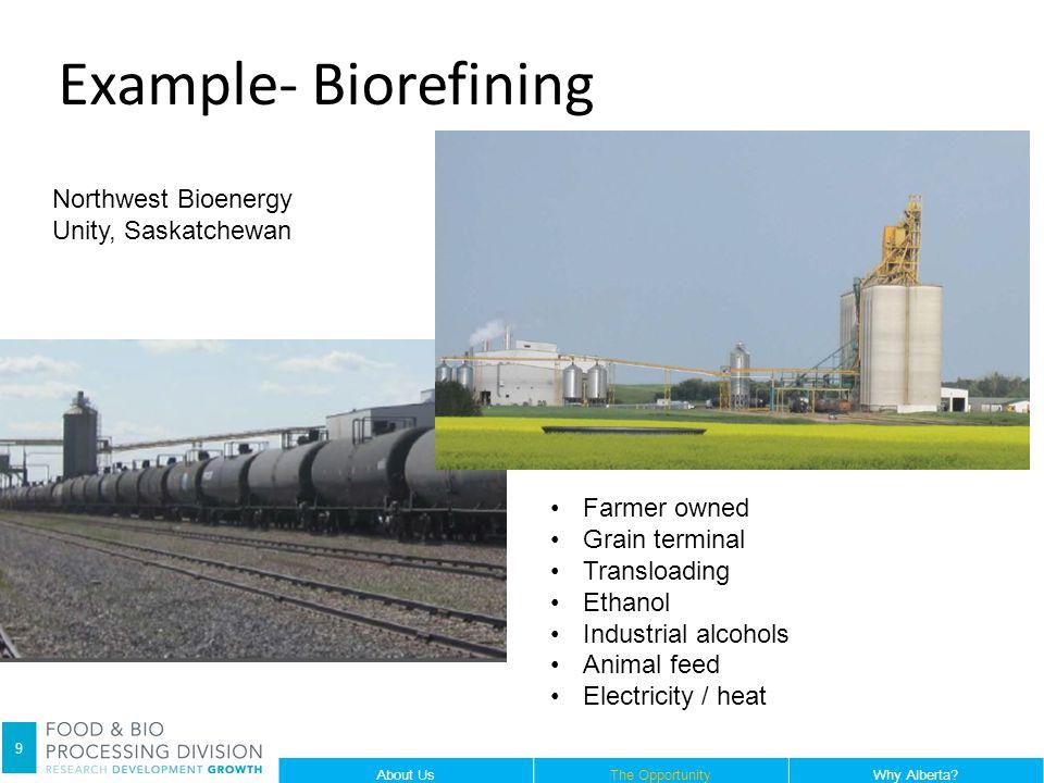 9 Northwest Bioenergy Unity, Saskatchewan Farmer owned Grain terminal Transloading Ethanol Industrial alcohols Animal feed Electricity / heat About Us