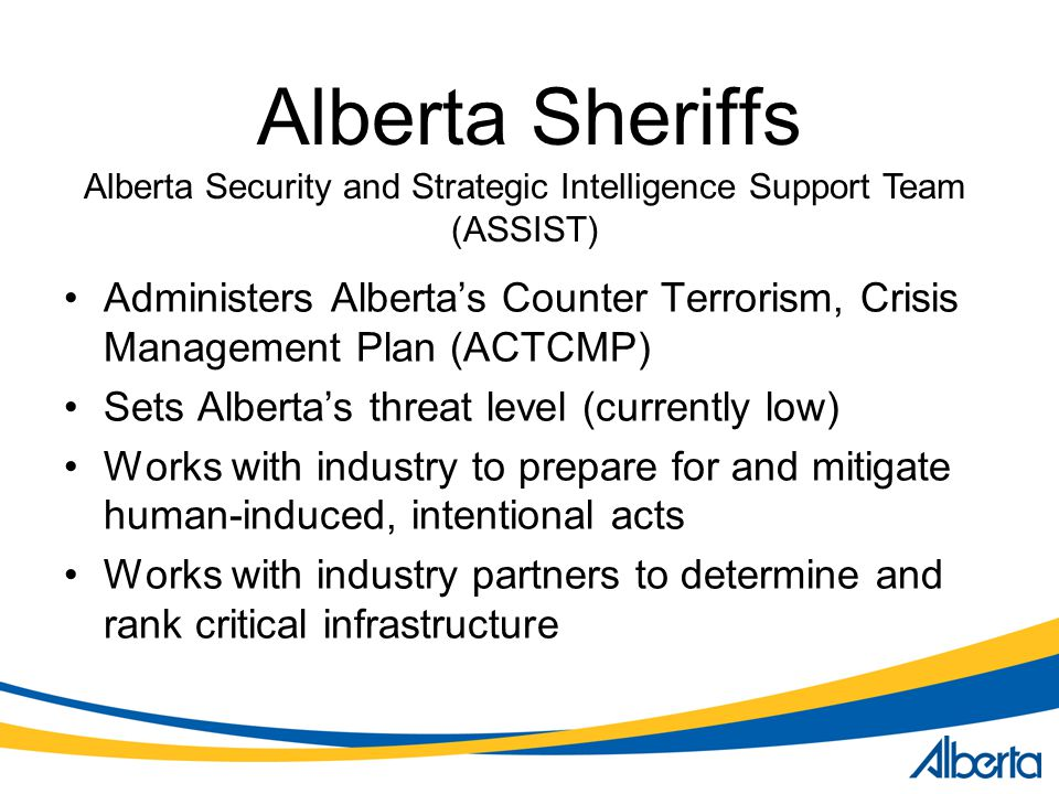 Alberta Sheriffs Administers Alberta's Counter Terrorism, Crisis Management Plan (ACTCMP) Sets Alberta's threat level (currently low) Works with industry to prepare for and mitigate human-induced, intentional acts Works with industry partners to determine and rank critical infrastructure Alberta Security and Strategic Intelligence Support Team (ASSIST)