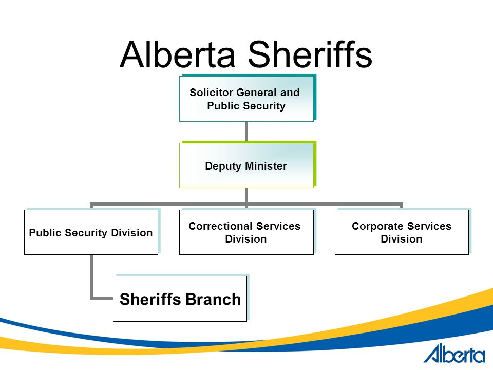 Alberta Sheriffs Solicitor General and Public Security Deputy Minister Public Security Division Sheriffs Branch Correctional Services Division Corporate Services Division